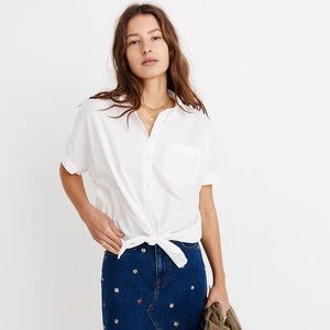 NWT Madewell Short Sleeve Tie Front Shirt